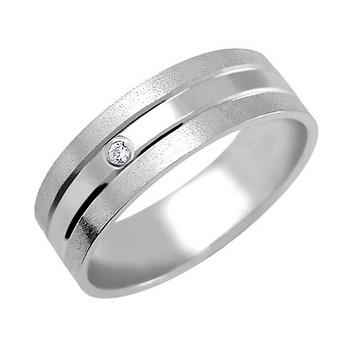 Zlatý snubní prsten č. 359- se zirkony (briliant. vzor) - 585/4,40g z bílého zla