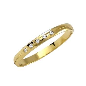 Zlatý snubní prsten č. 368 - se zirkony (briliant. vzor) - 585/1,55g ze žlutého
