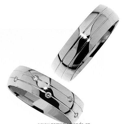 Zlatý snubní prsten Gems Line, 436-0345_0346 z bílého zlata