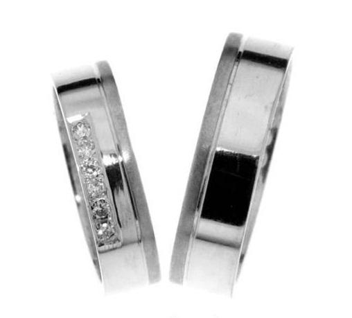 Zlatý snubní prsten Gems Line, 436-0201_0202 z bílého zlata