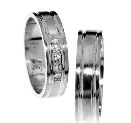 Zlatý snubní prsten Gems Line, 436-0191_0192 z bílého zlata