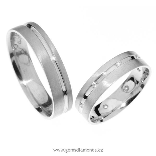 Zlatý snubní prsten Gems Line, 436-0121_0122 z bílého zlata