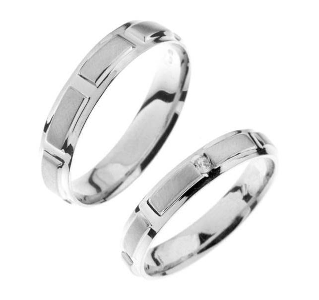 Zlatý snubní prsten Gems Line, 436-0163_0164 z bílého zlata