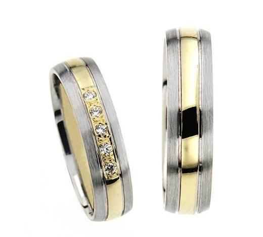 Zlatý snubní prsten GEMS EXCELENT, 436-0621_622 z bílého a žlutého zlata