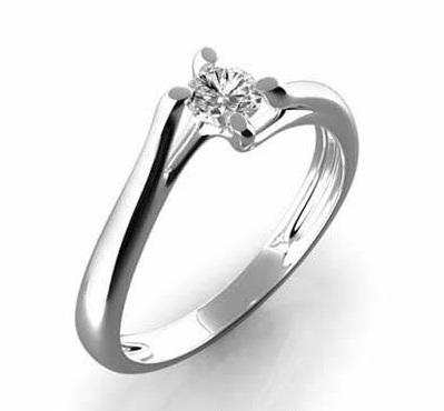 Zásnubní Prsten s diamantem, bílé zlato 386-0395 Gems Edita