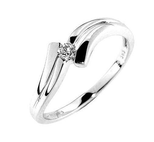 Zásnubní Prsten s diamantem, bílé zlato 386-0106 Gems Celie