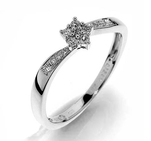 Zásnubní Prsten s diamanty, bílé zlato 386-1218, Gems elegant Dagmar