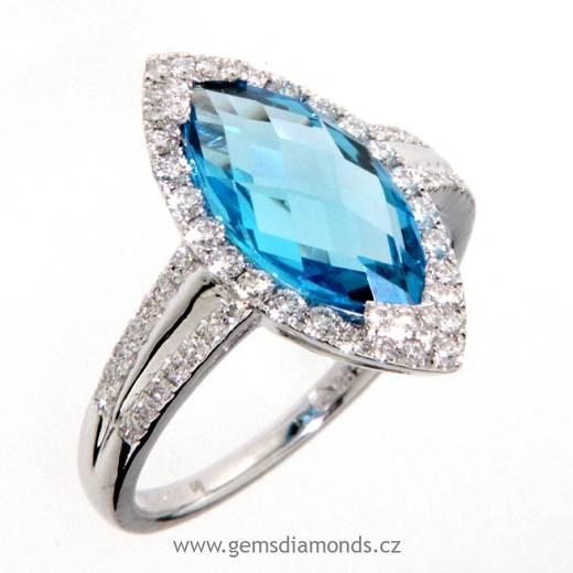 Luxusní prsten s diamanty, blue topaz, bílé zlato