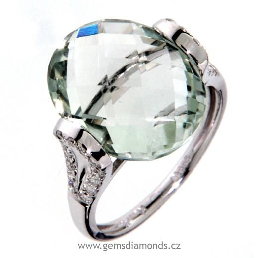 Luxusní prsten s diamanty, zelený ametyst, kolekce Dream, bílé zlato