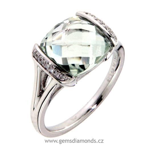 Luxusní prsten s diamanty, zelený ametyst, kolekce Glare, bílé zlato