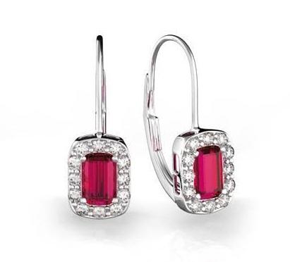 Luxusní náušnice s diamanty, rubín, bílé zlato, Josefína