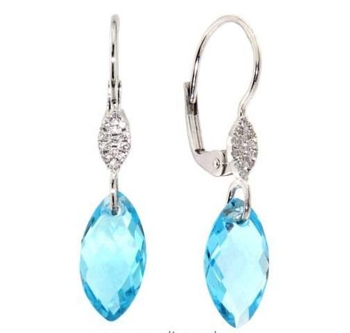 Náušnice s diamanty, blue topaz, kolekce Breeze, bílé zlato