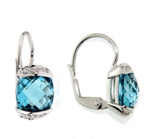 Náušnice s diamanty, blue topaz, kolekce Glare, bílé zlato