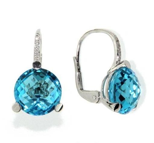 Náušnice s diamanty, blue topaz, kolekce Natural, bílé zlato