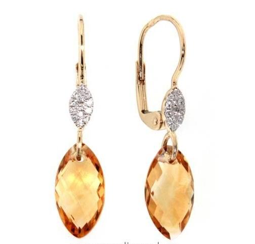 Náušnice s diamanty, citrín, kolekce Breeze, žluté zlato