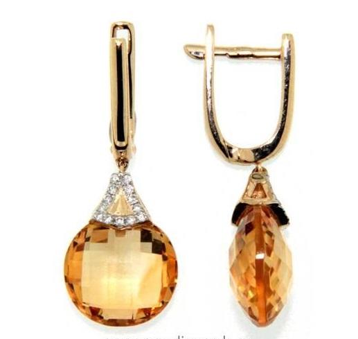 Náušnice s diamanty, citrín, kolekce Magic, žluté zlato