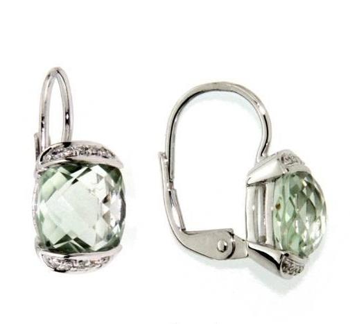 Náušnice s diamanty, zelený ametyst, kolekce Glare, bílé zlato
