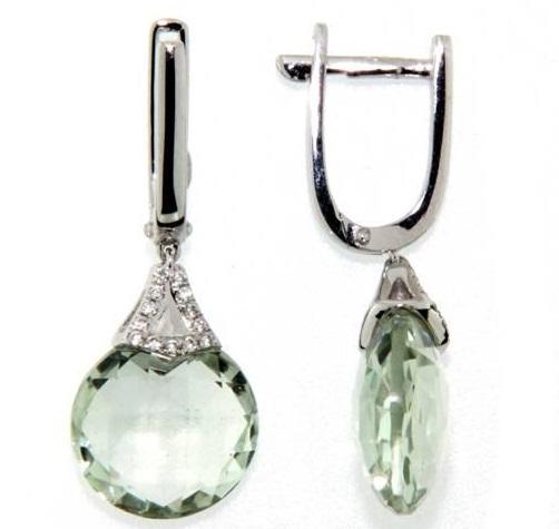 Náušnice s diamanty, zelený ametyst, kolekce Magic, bílé zlato