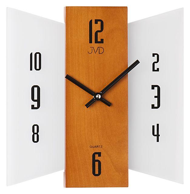 Skleněné dřevěné Nástěnné hodiny JVD N12004.41