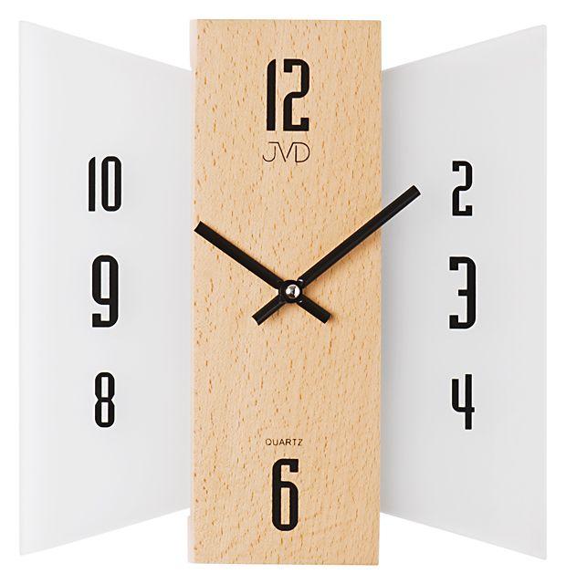Skleněné dřevěné Nástěnné hodiny JVD N12004.68 - NOVINKA
