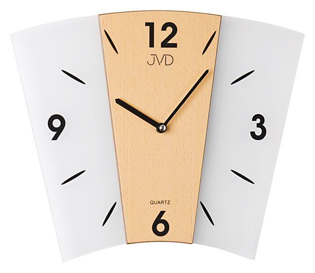 Skleněné dřevěné Nástěnné hodiny JVD N11065.68 - NOVINKA