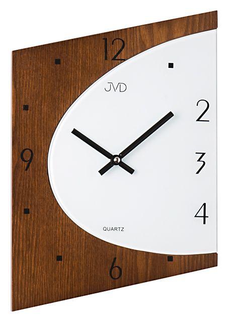 Skleněné dřevěné Nástěnné hodiny JVD N1171.11 - NOVINKA