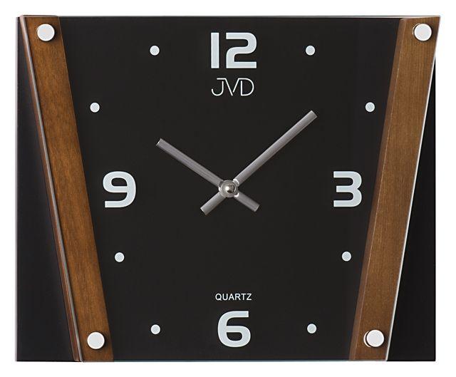 Kovové skleněné dřevěné nástěnné hodiny JVD N11070.11 - NOVINKA
