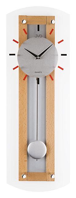 Dřevěné skleněné kyvadlové Nástěnné hodiny JVD N12007.68