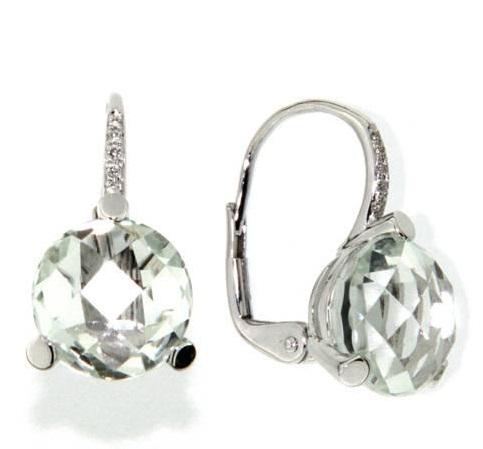 Náušnice s diamanty, zelený ametyst, kolekce Natural, bílé zlato