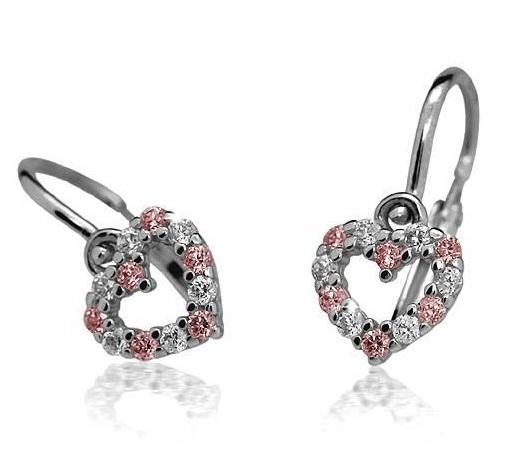Luxusní Dětské náušnice s růžovým kamínkem, 408-0023.58
