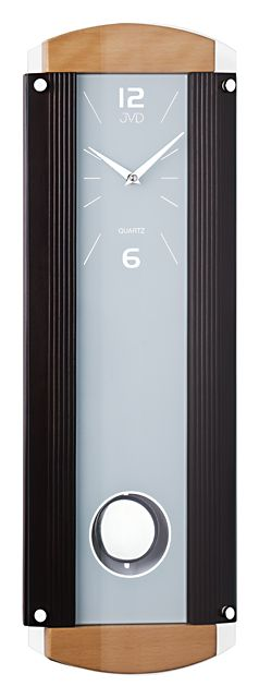 Dřevěné skleněné kyvadlové nástěnné hodiny JVD quartz N12003 - NOVINKA NA TRHU Č