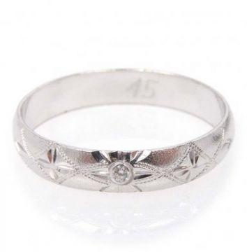 Zlatý snubní prsten č. 45 - 585/2,4g z bílého zlata SN5-Soliter 45