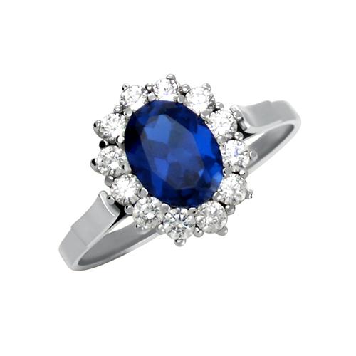 Replika zlatého zásnubního prstenu Kate Middletonové s modrým safírem