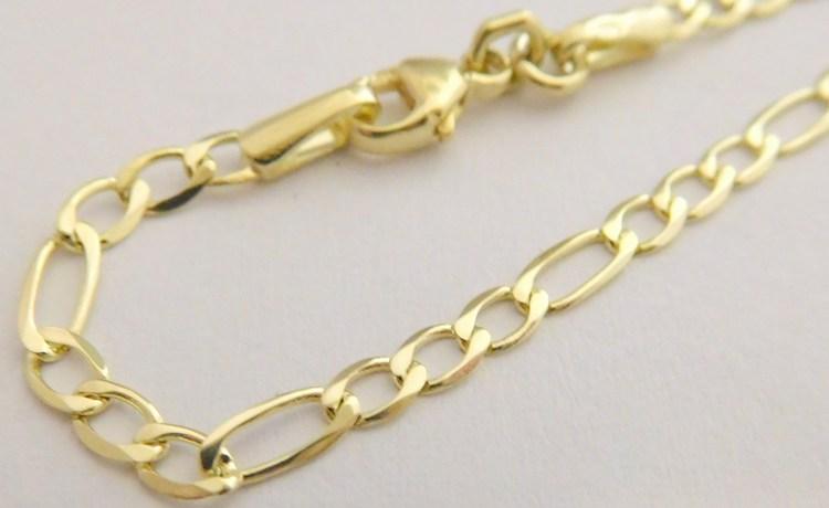 7e1a2f3ec Zlatý pánský pevný mohutný náramek ze žlutého zlata (FIGARO) 21cm 585/1,67gr  2840141