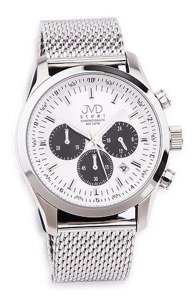 Luxusní chronograf náramkové ocelové hodinky JVD steel JA534.2 se stopkami