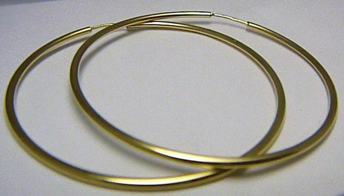 Dámské obrovské velké zlaté kruhy 50mm/5cm 585/1,51gr H549