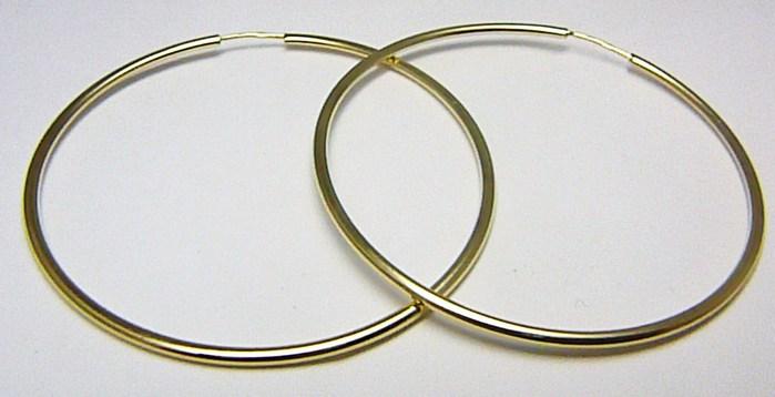 Dámské obrovské velké zlaté kruhy 50mm/5cm 585/1,50gr H550