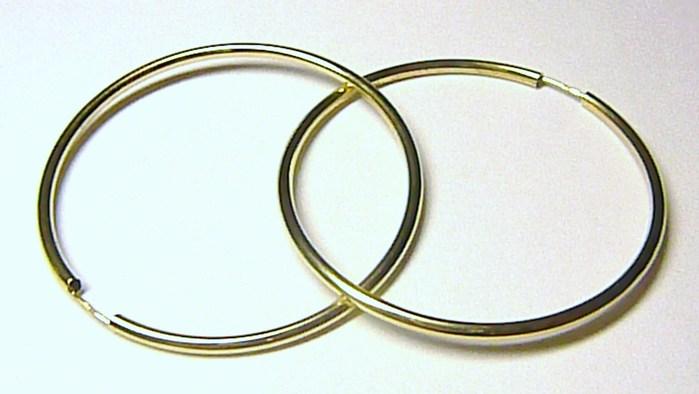 Obrovské velké mohutné zlaté kruhy - průměr 4,0cm - 585/1,34gr H551