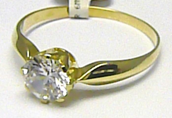 Dámský zásnubní zlatý prsten s velkým zirkonem 585/1,45 gr vel. 52 P563 (4515037)