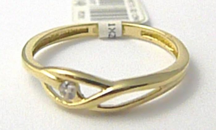 Dámský zlatý prsten se zirkonem vel.54 585/1,12 gr P574