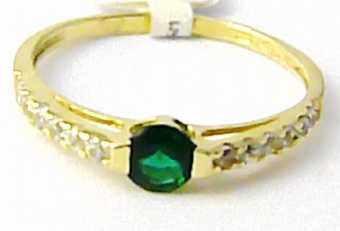 Zásnubní zlatý prstýnek se zeleným smaragdem vel. 51 585/1,22 gr P613