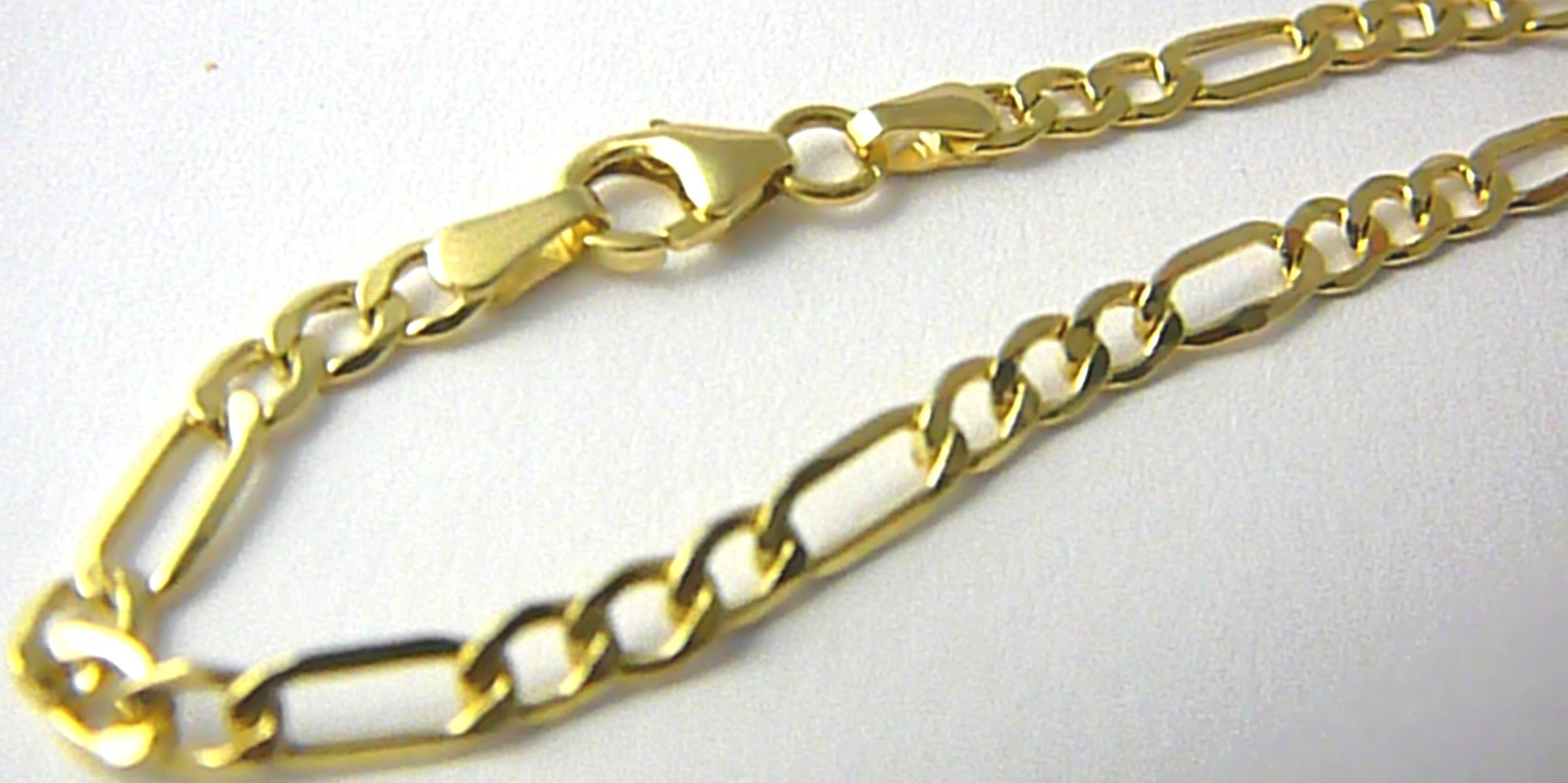 Mohutný zlatý pánský/dámský řetěz - řetízek FIGARO 45cm 585/8,42gr P652