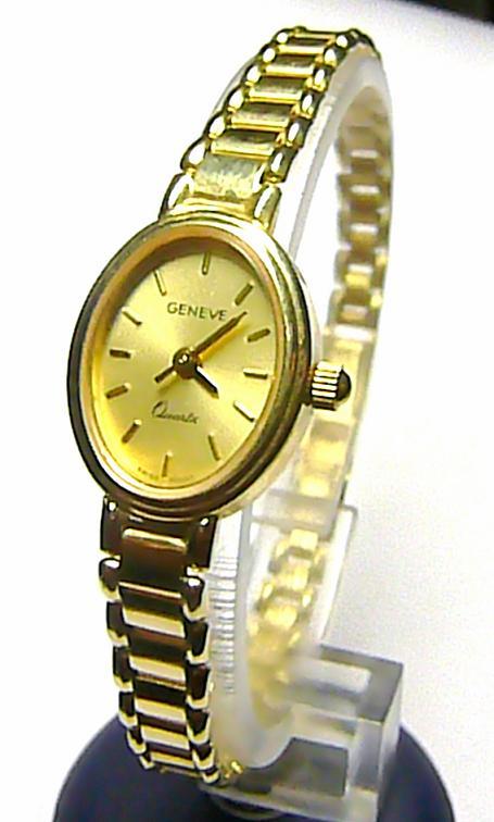 Luxusní společenské dámské švýcarské zlaté hodinky GENEVE 585/19,55gr - 17,5cm