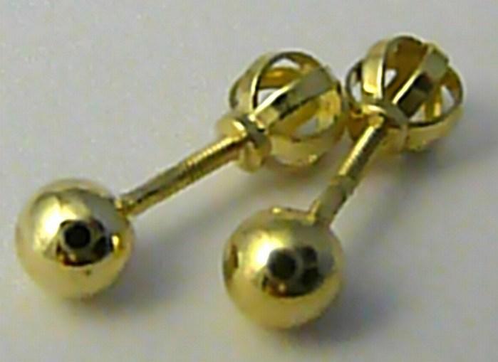 Zlaté velké pecičky - zlaté náušnice pecky na šroubek 585/0,95gr 3530032 (3530032)