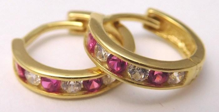 Zlaté náušnice - kruhy se zirkony a rubíny (dívčí) 585/1,12gr 2230152 (2230152 - POŠTOVNÉ ZDARMA)