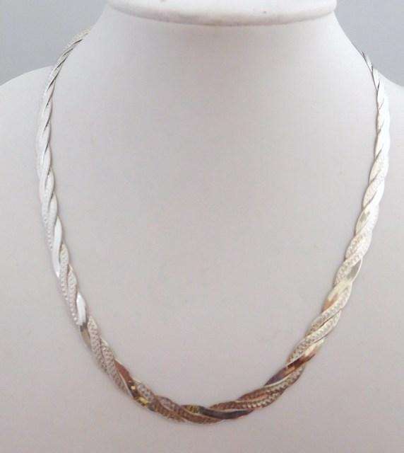 Stříbrný pletený náhrdelník (řetízek) - rhodiovaný 50cm 14,25gr 030426400027 ( 030426400027 POŠTOVNÉ ZDARMA!!)