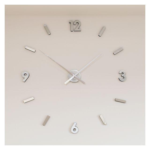 Nalepovací designové nástěnné hodiny JVD HW53.1 - stříbrné na zeď