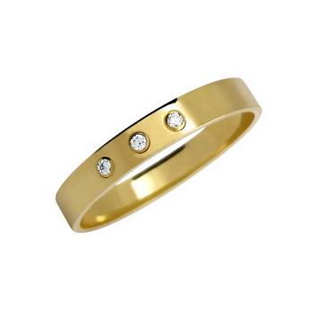 Zlatý snubní prsten č. 37 s brilianty - 585/2,90g