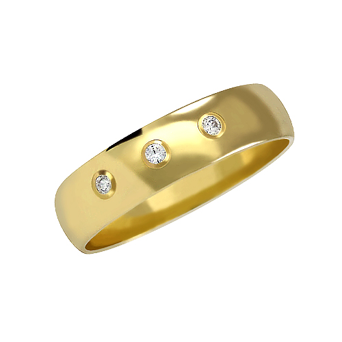 Zlatý snubní prsten č. 113 se zirkony (briliant. vzor) - 585/3,60g