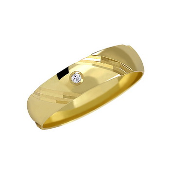Zlatý snubní prsten č. 116 se zirkony (briliant. vzor) - 585/3,30g